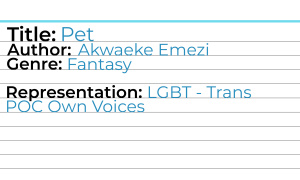 Example of a card front. Reads: Title: Pet Author: Akwaeke Emezi Genre: Fantasy Representation: LGBT - Trans POC Own Voices